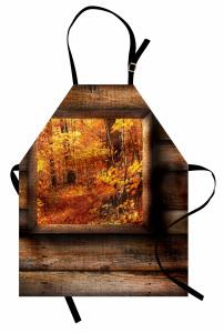 Sonbahar Manzarası Mutfak Önlüğü Turuncu Yapraklar