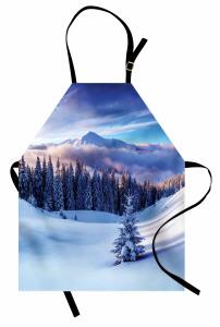 Karlı Dağlar ve Ağaçlar Mutfak Önlüğü Karlı Dağ Manzaralı Bulutlar