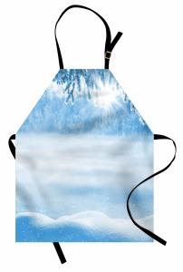 Kar Yağışında Güneş Mutfak Önlüğü Kar Yağışında Güneş Manzaralı