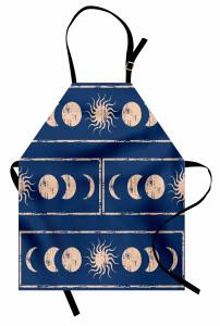 Güneş ve Ay Figürü Mutfak Önlüğü Bej Şık Güneş ve Ay Figürleri
