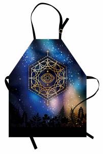 Yıldızlar ve Gökyüzü Mutfak Önlüğü Siyah Mavi Şık Tasarım