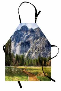 Doğaya Kaçış Mutfak Önlüğü Dağ Orman Yeşil Doğa