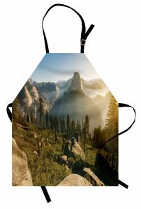 Doğada Sisli Sabah Mutfak Önlüğü Dağ Orman