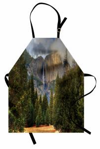 Dağdaki Şelale Mutfak Önlüğü Dağ Orman Yeşil Doğa