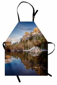 Göl Manzaralı Mutfak Önlüğü Yeşil Mavi Dağ Ağaç Doğa