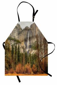Sonbahar Temalı Mutfak Önlüğü Turuncu Şelale Dağ Ağaç