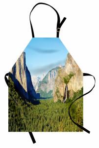 Doğa Temalı Mutfak Önlüğü Şelale Dağ Orman Ağaç Yeşil