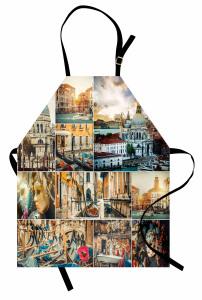 Venedik Desenli Mutfak Önlüğü Kanal Gondol