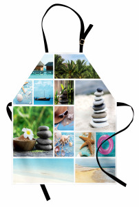 Egzotik Tatil Desenli Mutfak Önlüğü Tropikal Sahil Palmiyeler