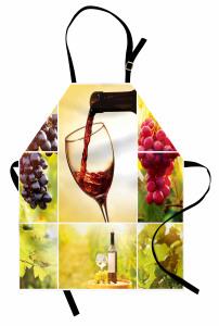 Üzüm ve Şarap Desenli Mutfak Önlüğü Romantik Bağ Manzaralı