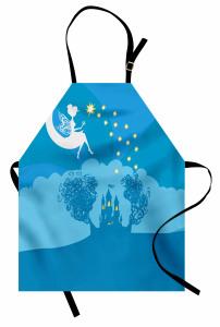 Çocuklar İçin Mutfak Önlüğü Peri Masalı Temalı Mavi