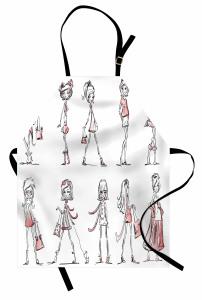 Moda Temalı Mutfak Önlüğü Kız Desenli Pembe Trend