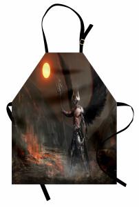 Şeytan Desenli Mutfak Önlüğü Gri Siyah Şövalye Kanat