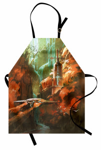 Kırmızı Kanyon Temalı Mutfak Önlüğü Deniz Feneri Dağ