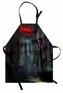 Cehennem Temalı Mutfak Önlüğü Şeytan Siyah Kırmızı