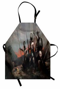 Savaş Temalı Mutfak Önlüğü Gri Siyah Asker Ordu Zırh
