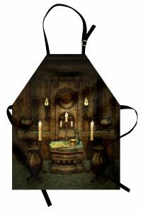 Antik Oda Temalı Mutfak Önlüğü Kahverengi Mum Kitap
