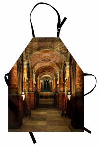 Antik Bina Temalı Mutfak Önlüğü Kahverengi Merdiven