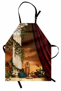 Bordo Perde Desenli Mutfak Önlüğü Yastık Gökyüzü Antik