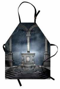 Mavi Orman Temalı Mutfak Önlüğü Gri Antik Peri Masalı
