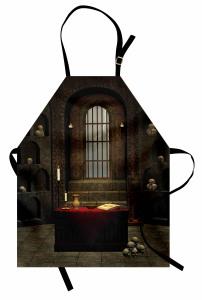 Kuru Kafalı Oda Temalı Mutfak Önlüğü Kahverengi Kitap