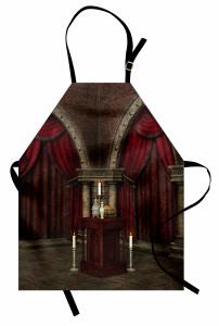 Gotik Temalı Mutfak Önlüğü Bordo Antik Oda Mum Kapı