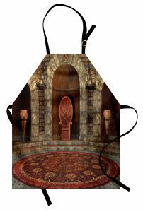 3D Etkili Mutfak Önlüğü Gotik Antik Oda Kahverengi