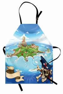 Korsan Adası Temalı Mutfak Önlüğü Mavi Deniz Kuru Kafa