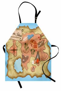 Hazine Haritası Temalı Mutfak Önlüğü Kahverengi Mavi
