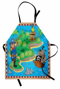 Çocuklar İçin Mutfak Önlüğü Korsan Ada Hazine Kuş Mavi