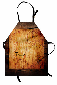 Hazine Haritası Temalı Mutfak Önlüğü Kahverengi Antik