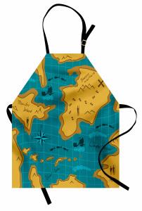 Macera Haritası Temalı Mutfak Önlüğü Mavi Sarı Deniz