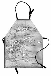 Nostaljik Harita Mutfak Önlüğü Antik Gri Deniz