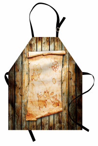 Antik Harita Desenli Mutfak Önlüğü Kahverengi Ahşap