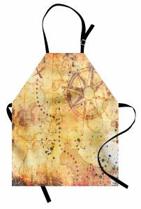 Antik Harita Desenli Mutfak Önlüğü Sarı Nostaljik