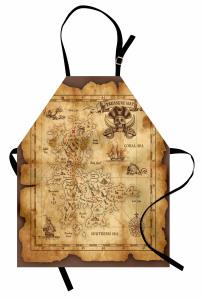 Korsan Haritası Temalı Mutfak Önlüğü Kahverengi Hazine