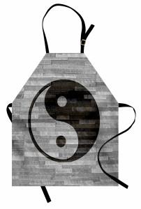 Duvardaki Yin Yang Mutfak Önlüğü Asya Kültür Gri Siyah