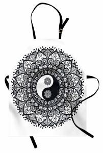 Yin Yangli Mandala Mutfak Önlüğü Yin Yang Sembollü Mandala