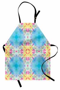 Mavi Mor Geometrik Mutfak Önlüğü Şık Tasarım