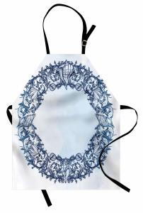 Deniz Kabuğu ve Çiçek Mutfak Önlüğü Mavi Beyaz