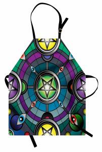 Rengarenk Yıldız ve Göz Mutfak Önlüğü Dairesel
