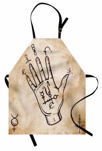 Kahverengi El ve Sembol Mutfak Önlüğü Bej Fon