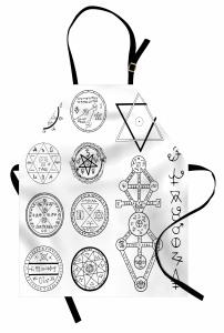 Mistik Pentagram Mutfak Önlüğü Beyaz