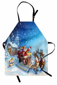 Noel Baba ve Geyik Mutfak Önlüğü Kış Temalı