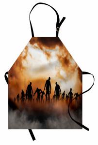 Zombi Temalı Mutfak Önlüğü Cadılar Bayramı Kahverengi