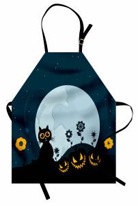Kedi ve Ay Desenli Mutfak Önlüğü Cadılar Bayramı Siyah