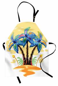 Palmiye Desenli Mutfak Önlüğü Palmiye Turuncu