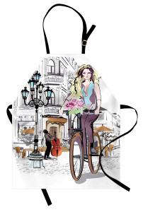 Bisikletli Kız Mutfak Önlüğü Pembe Güller