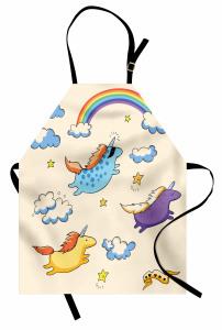 Masal Temalı Mutfak Önlüğü Unicorn Gökkuşağı Mavi