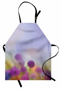 Mor Çiçekli Mutfak Önlüğü Şık Tasarım Mavi